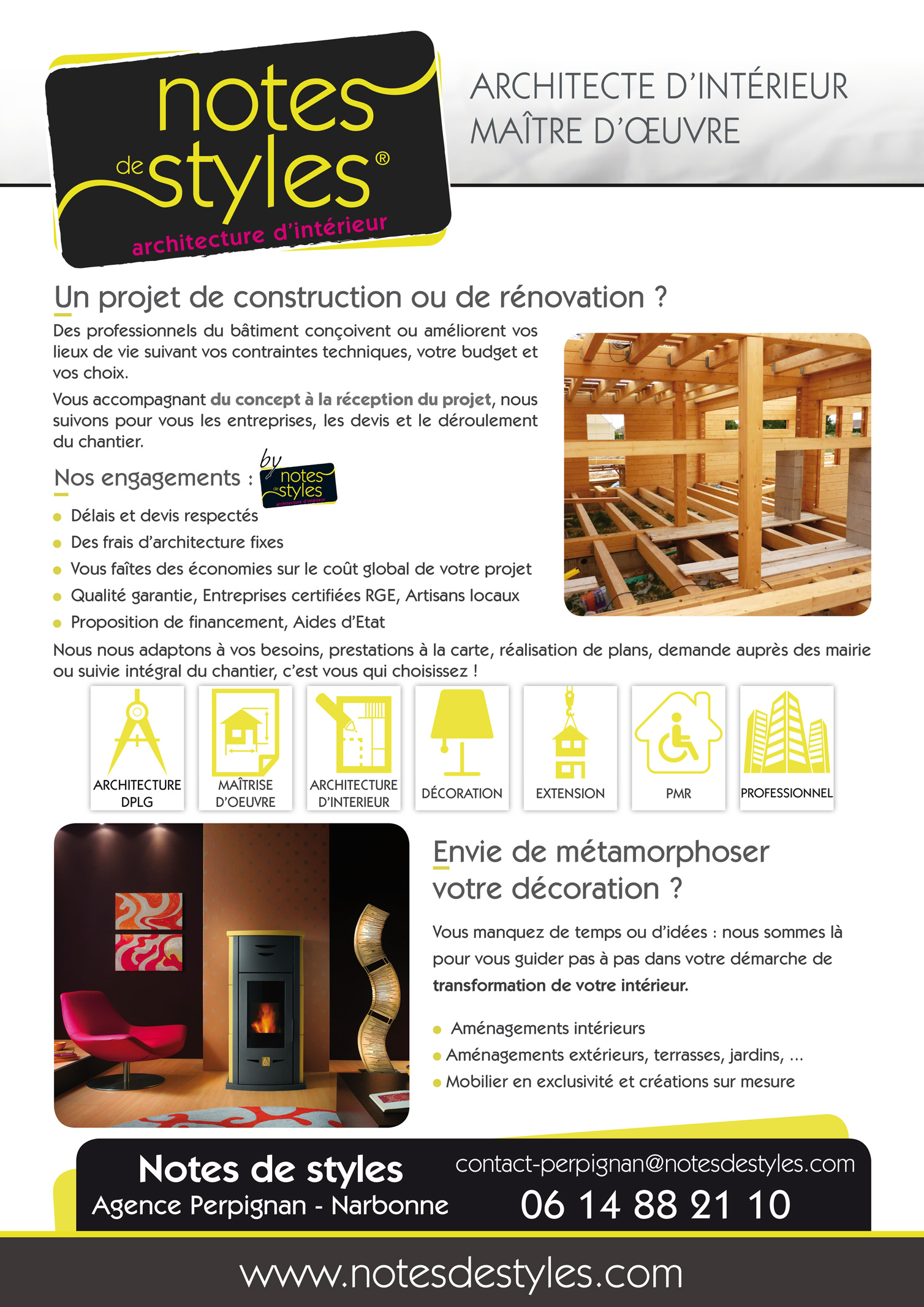 affiche publicitaire pour le r seau notes de styles architecte d 39 int rieur. Black Bedroom Furniture Sets. Home Design Ideas