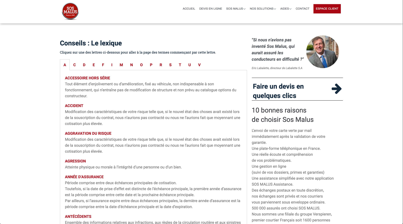 SOS Malus, N°1 de l'assurance malus en ligne, Paris, Réalisation 2018 - Webdesign - Matthieu Loigerot