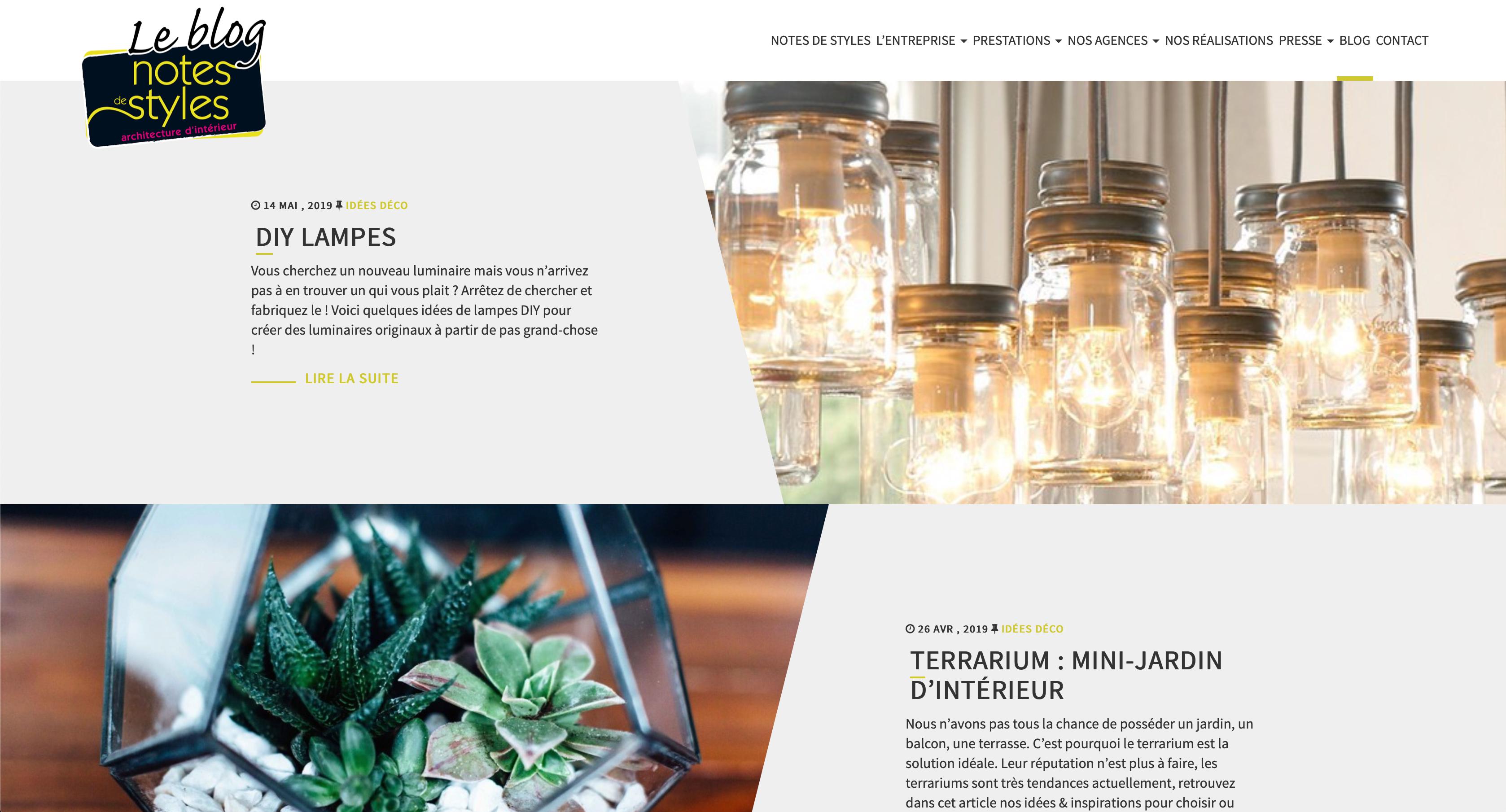 Blog Notes de Styles - Réseau d'agence d'architecte d'intérieur et décorateur dans toute la france, Réalisation 2016 - Webdesign - Matthieu Loigerot