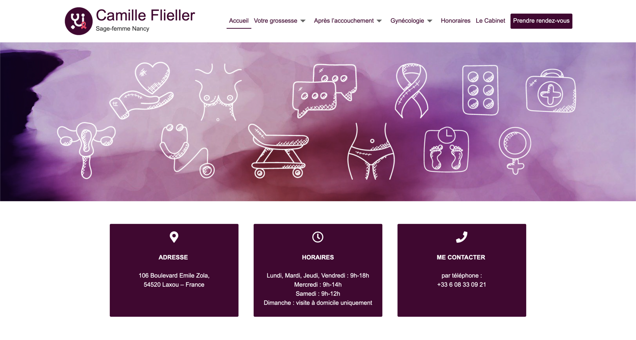 Camille Flieller | Sage femme Nancy - Réalisation 2019 - Webdesign - Matthieu Loigerot