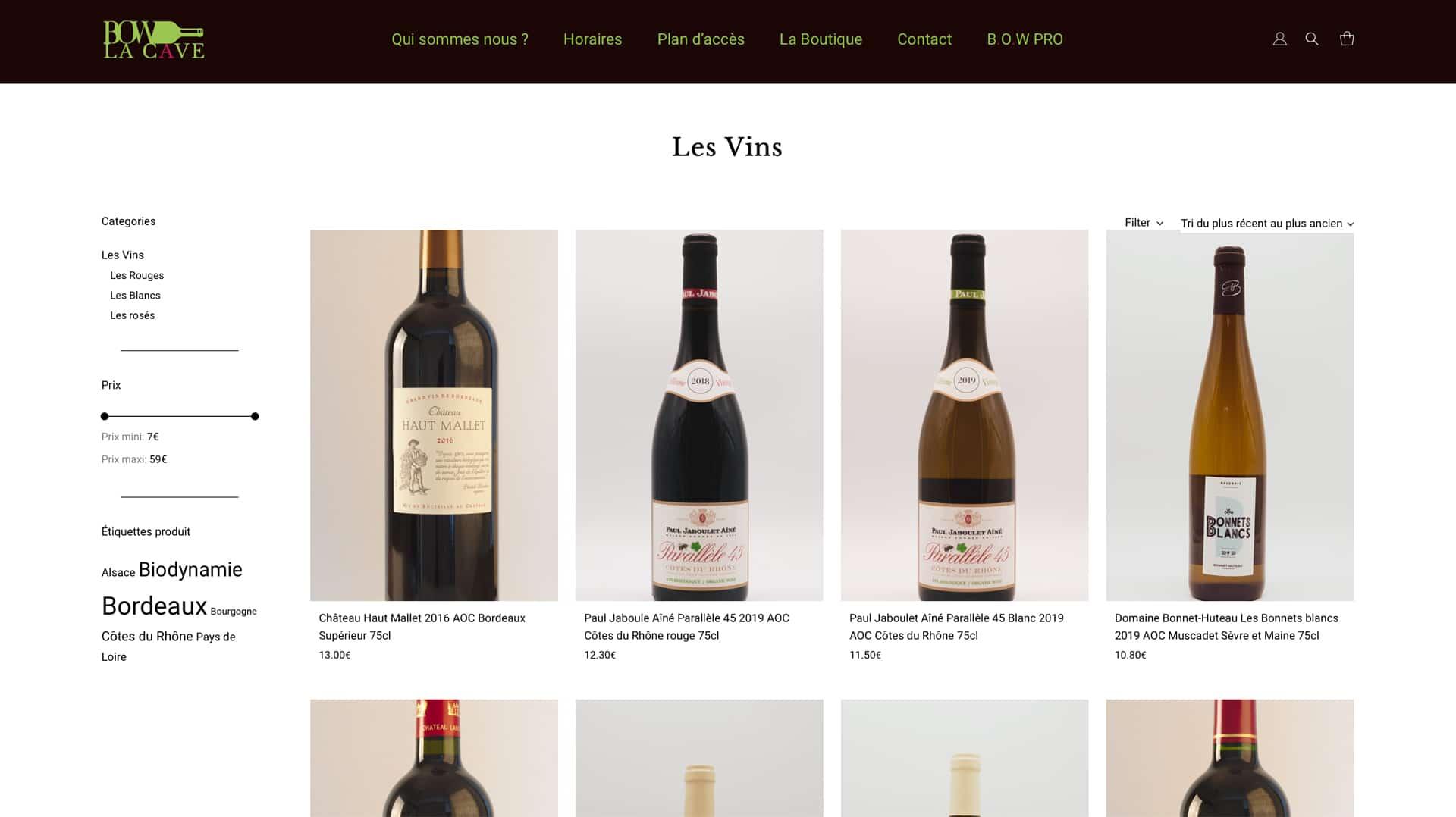 Bordeaux Organic Wines - Page boutique