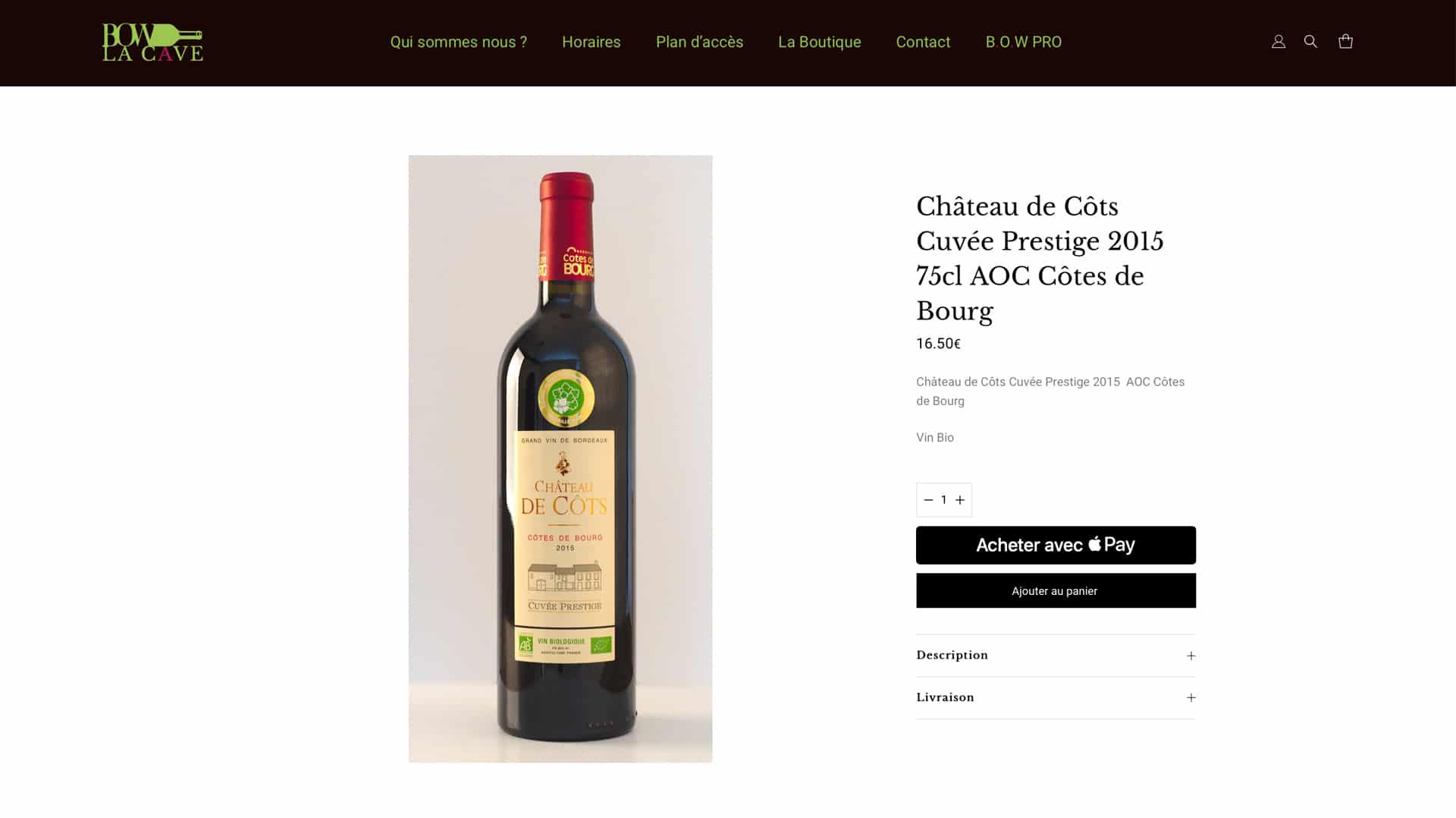Bordeaux Organic Wines - Page produit